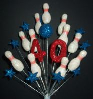 Skittles (10 pin bowling) 40th birthday cake topper decoration - free postage